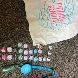 BumGenius pins/tote bag/lanyard w/ pen.